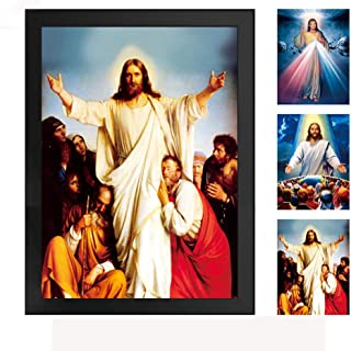 The Divine Mercy Jesus Christ 3D Poster Wall Art Decor Framed Print -lenticular Technology Artwork-Multiple Pictures in One - | 13.5x17.4 Inchs |