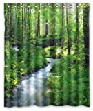 KXMDXA Clean Stream Green Forest Waterproof Polyester Shower Curtain 60x72 Inch Bathroom Decor