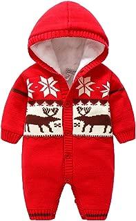 Newborn Baby Berber Fleece Hoodie Romper Outfit,Infant Warm Animal Snowsuit Jumpsuit Costume