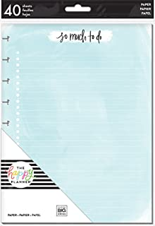 The Happy Planner Note Paper Sheets - 40 Sheets of Pre-Punched Double-Sided Filler Paper - Assorted Colors - Inserts Into Planner - Organize, Prioritize, Make Lists, Take Notes - Classic Size