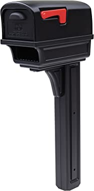 Gibraltar Mailboxes Gentry Large Capacity Double-Walled Plastic Black, All-In-One Mailbox & Post Combo Kit, GGC1B0000