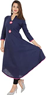 RED MARLIN Women Cotton Straight Kurti(Red & Blue & Pink & Yellow) (Blue, Small)