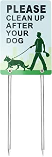 Kichwit Double Sided Please Clean Up After Your Dog Sign, No Dog Pooping Sign, Measures 7.9