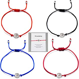 Friendship Bracelet Gift Card -Thank You Wish Bracelet Jewelry Charm Bracelet for Friends(4Pcs)