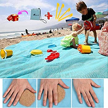 ABETER Sand Free Beach Mat Blanket Sand Proof Magic Sandless Sand Dirt & Dust Disappear Fast Dry Easy to Clean Waterproof Rug Avoid Sand Dirt and Grass Keep Everything Clean  79×79