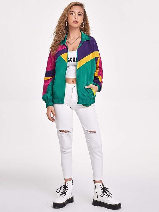 80s Outfit Inspiration, Party Ideas SweatyRocks Womens Zip Up Color Block Lightweight Jacket Patchwork Sport Windbreaker Jacket Coat Outerwear  AT vintagedancer.com