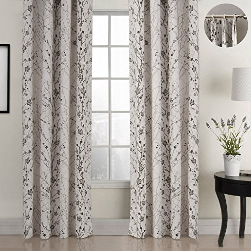 ChadMade Country Style Plum Blossom Polyester 50Wx63L Inch (1 Panel) Blackout Lined Curtain Drape Pinch Pleat SOFITEL Collection for Bedroom | Living Room | Club | Restaurant