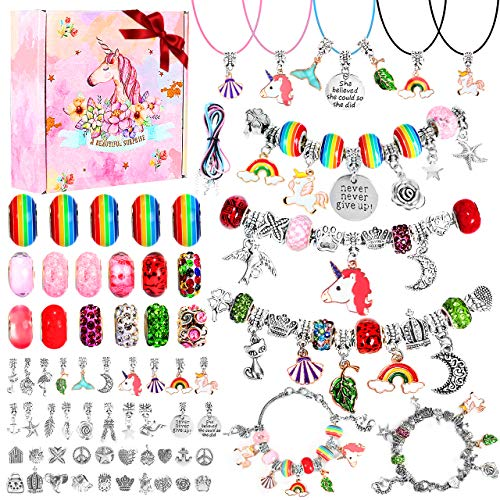 Charm Bracelet Making Kit, Emooqi Jewelry Making Supplies with Beads, Jewelry Charms, Bracelets for DIY Craft, Jewelry Box Gift Set for Girls Kids Teens