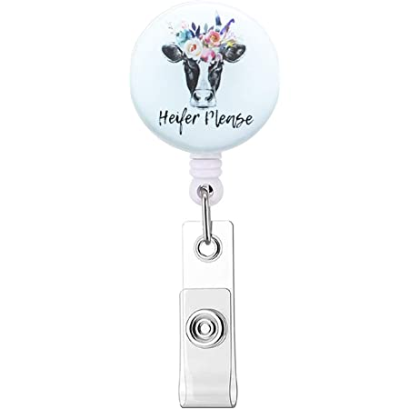 Nurse Badge Reel Nurse Retractable ID Badge Holder Name Badge Holder Funny Cow Badge Reel Funny Gift Don/'t Have a Cow Teacher Badge