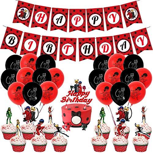 Decoración de fiesta de cumpleaños de mariquita, globos de lunares de mariquita para suministros de fiesta de mariquita, globos temáticos de mariquita, decoraciones para tartas