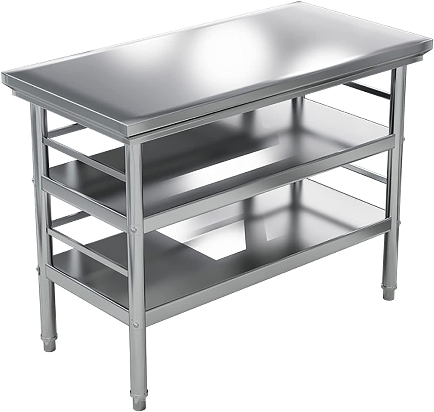 ZHIQ 3-Tier Stainless Steel Commercial Table wi Indefinitely Prep Popular brand Kichen Work