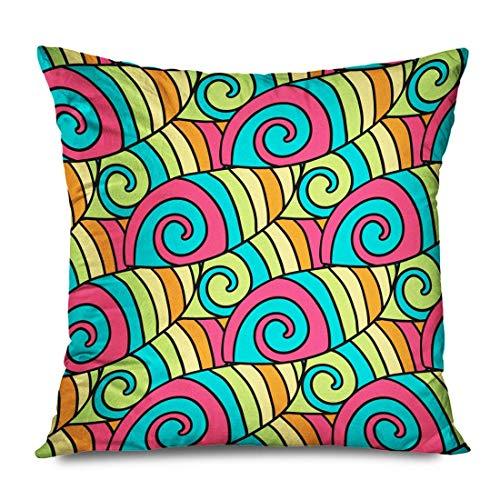 Funda de almohada cuadrada de 45 x 45 cm, colorido, hecha a mano, olas de verano, patrón de espiral, colorear, texturas abstractas con cremallera, funda de almohada