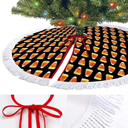 KAZOGU Candy Corn Black Christmas Tree Skirt for Home Holiday Decorations Floor Mat Ornaments Xmas Tree Base Cover