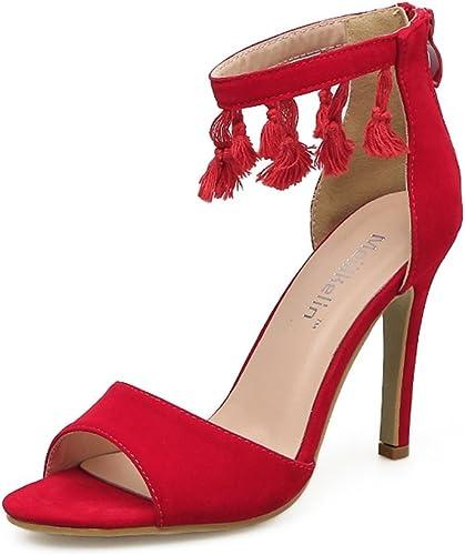 HIGHXE Sandales à Talons Hauts pour Femmes New Fish Mouth Tassel Bouche Peu Profonde Stiletto Super High Heels Chaussures de Mariage Mode Rouge