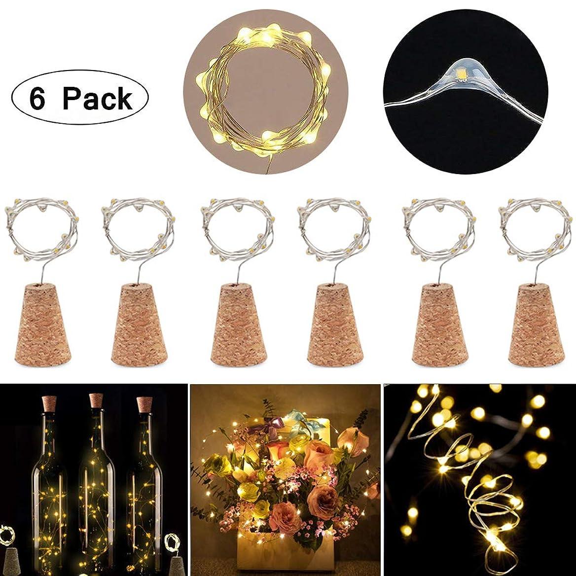 差別化する想像するルビー6個セット コルクストリングライト LEDイルミネーションライト ワインボトルライト 防水 3種の点灯モード 15LED電球 コルクの栓型 パーティー 結婚式 クリスマス DIY飾り 装飾用 (ウォーム 6個)