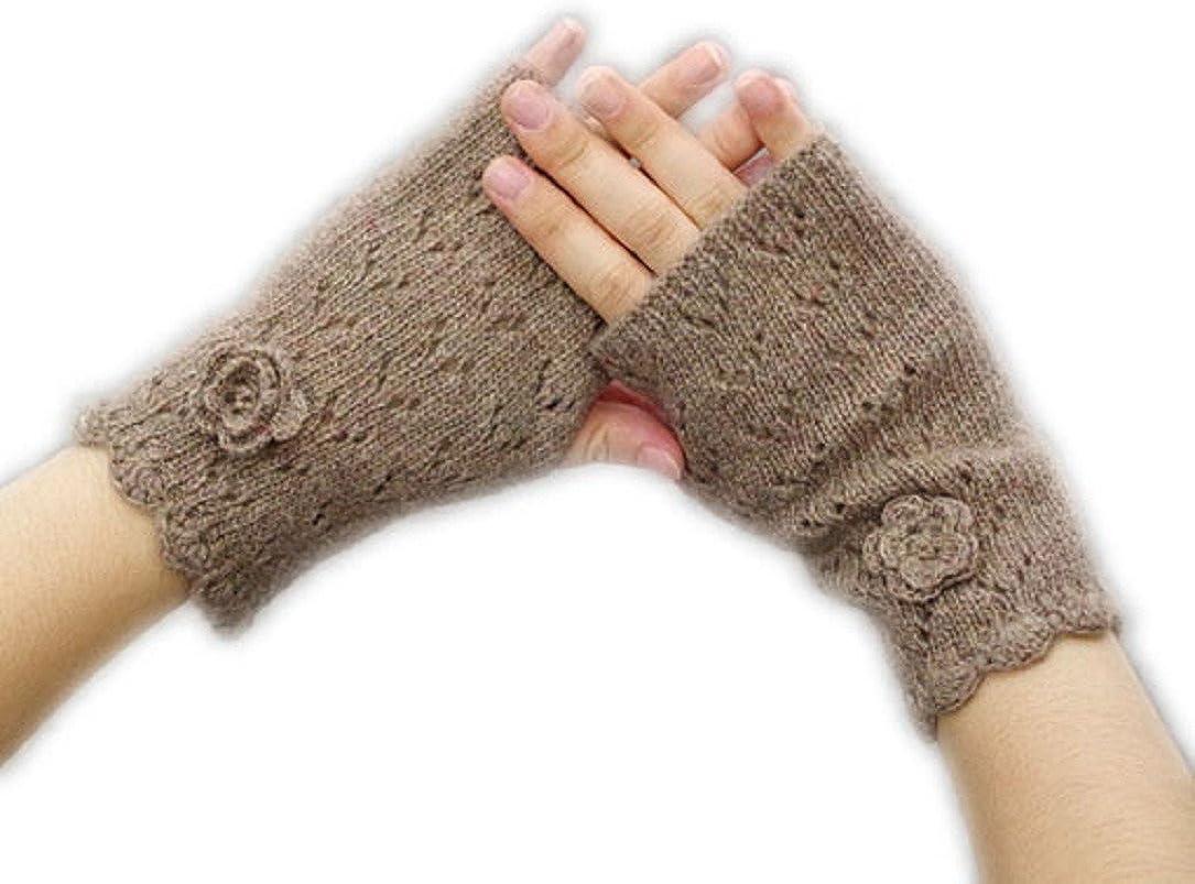YABINA Women's 100% Pure Cashmere Fur Thick Fingerless Gloves