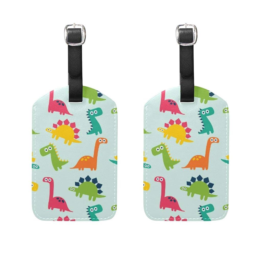 最も早い作りますむき出しバッグ用ネームタグ ネームタグ 手で書いた 恐竜 パターン 荷物タグ ラゲージタグ かわいい おしゃれ 旅行用 スーツケースタグ PUレザー 2枚入 個性