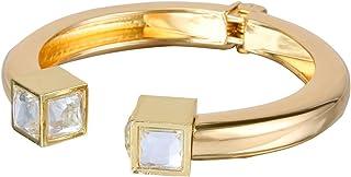 BriLove Women's Fashion Crystal Square Shape Punk Cuff Bracelet Gold-Tone Clear
