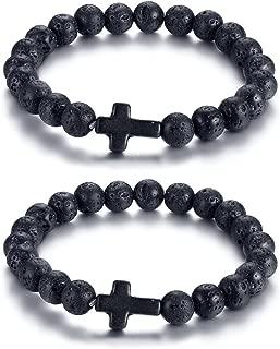 Black Lava Rock Stone Beads Sideways Cross Charm Stretch Bracelet for Christian