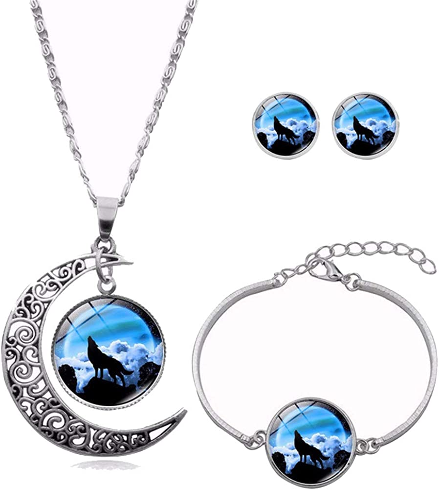 Ailiessy Hollow Crescent 1 year warranty Moon Wolf Pendant At the price Stud Necklace Earring