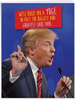 Large Funny President 'Trump Build A Yuge Cake' Happy Birthday Card 8.5 x 11 Inch - Hilarious B-Day Wishes for Democrats, Republicans - Political Congrats Greeting Cards with Envelope - J4239BDGC