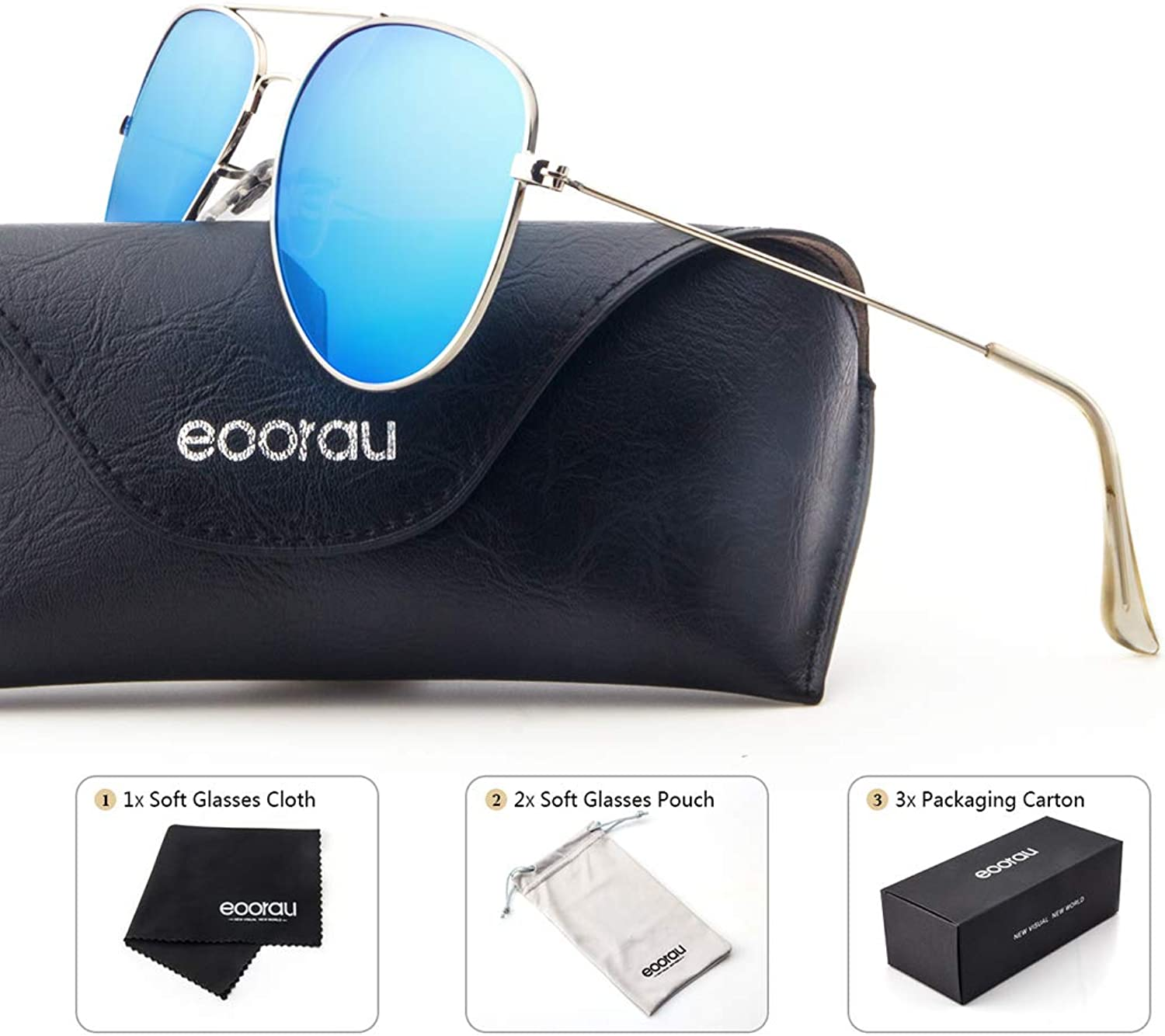 EOORAU Aviator Sunglasses Polarized for Womens Men  UV 400 with case 60MM