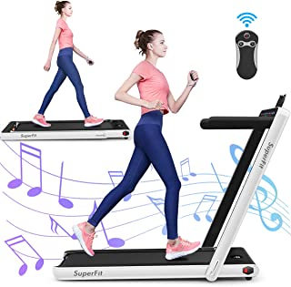 GYMAX 2 in 1 Under Desk Treadmill, 2.25HP Folding Walking Jogging Machine with Dual Display, Bluetooth Speaker & Remote Co...