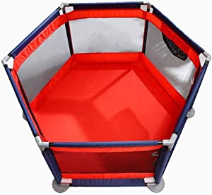 H aetn Playpens Folded Play Yard With Door For Baby Fence Panel Kids Activity Center For Boys Girls Outdoor Indoor Home  Color Red