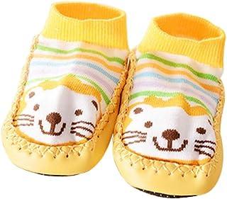 1 par de calcetines antideslizantes de dibujos animados de invierno cálido para bebés y niños calcetines gruesos de piso, león amarillo