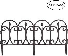 Mr.Garden Plastic Edging Fence Imitation Metal Decorative Garden Barrier Panels L23.6 xH11.8, Dog Outdoor Fence, Garden Border Fencing Folding Patio Fences, 10pack, Bronze