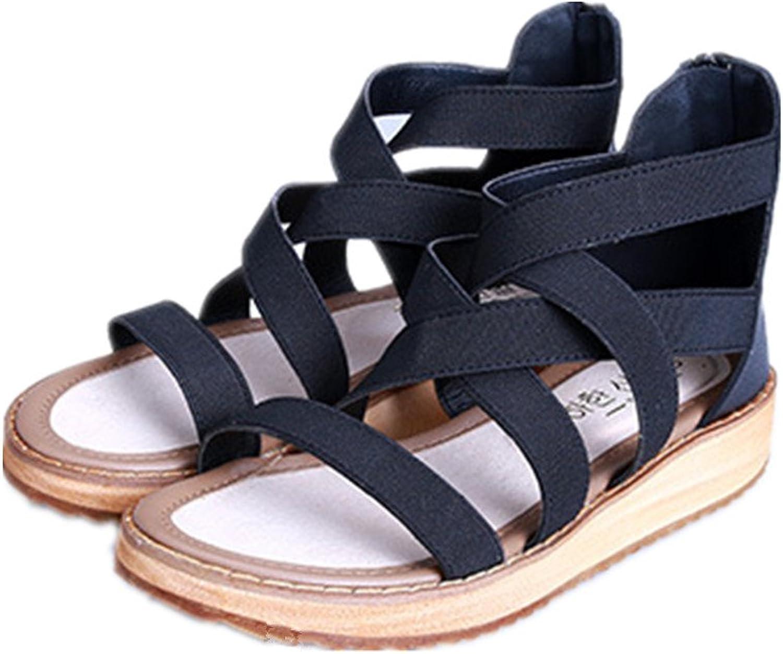 Gusha Thick-Soled Sandals Back Zipper Platform shoes Women's Cross Belt Casual