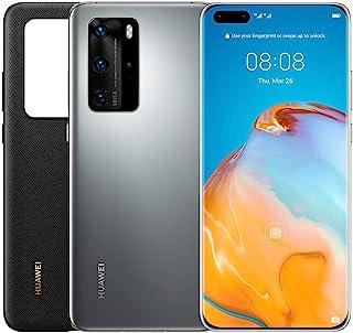 HUAWEI P40 Pro 256 GB 6.58 Inch Smartphone Bundle with PU Case, Kirin 990 5G, 50 MP Ultra Vision Leica Quad Camera, 8 GB RAM, 40W SuperCharge, IP68, SIM-Free Android Mobile Phone, Dual SIM, Silver