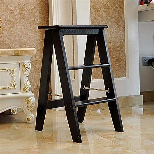RMJAI Chaises Marchepied bois étape multifonctionnelle en bois Utilitaire étape d'escalier multifonctionnel 13,3x17,7x24,4 pouces Escabeau multifonctionnel (Couleur   Noir)