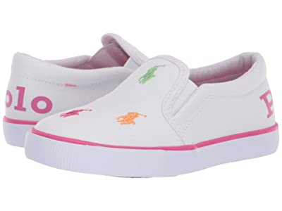 Polo Ralph Lauren Kids Bal Harbour Repeat II (Toddler) (White Canvas/Pink/Pink Polo/Multicolored Polo Print) Girl