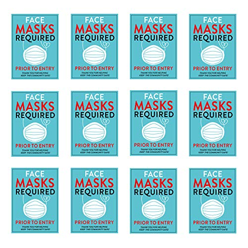 12 Pack Face Masks Required Prior to Entry Decal, Face Mask Required Sign Door/Window Stickers for Store Shop Office School and Other Public Place, 5 Inch x 7 Inch