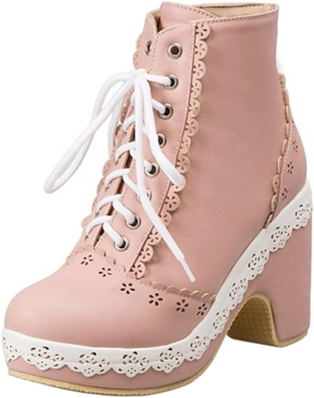 FANIMILA Women Cute Lace Up Ankle Boots High Heel