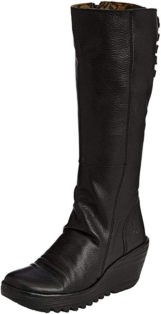 FLY London Yust Black Leather Womens Knee Hi Wedge Boots