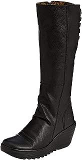 Yust Black Leather Womens Knee Hi Wedge Boots