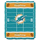 Officially Licensed NFL Miami Dolphins 'Field' Woven Jacquard Baby Throw Blanket, 36' x 46', Multi Color