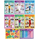 EDUCATIONAL CHARTS DESIGNED BY TEACHERS: Our set of 8 World Religions posters help students to learn, engage and remember more information than ever before. Covering a range of core topics, these unique school posters can play a vital role in improvi...