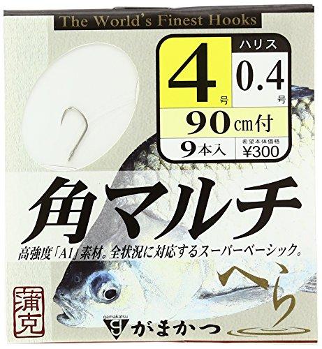 がまかつ(Gamakatsu) 糸付 A1角マルチ フック (白)90cm 4-0.4 釣り針