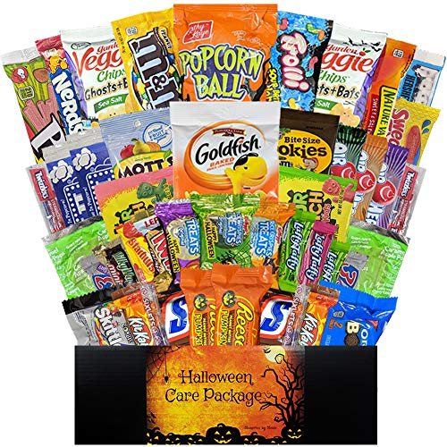 45 CT Halloween Care Package for College Students, Men, Women, Kids or Military - Variety Snack Pack Assortment of Candy, Chocolate, Crackers, Cookies and Snacks - Movie Night (Deluxe Halloween)