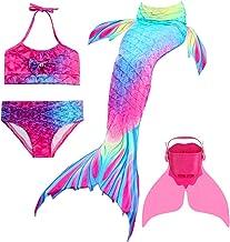 BESTYLING 4PCS Girls Mermaid Tail Swimsuit Cosplay Princess Swimwear with Monofin