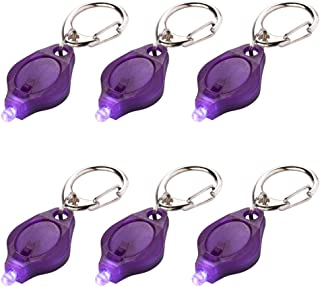 6 Pack Mini Uv LED Flashlight Keychain Light ID Currency Passports Detector for Gift Choice(Purple)