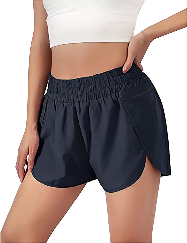 Women Sport Shorts Solid Casual Running Pocket Pants Elastic Waist Active Workout Shorts