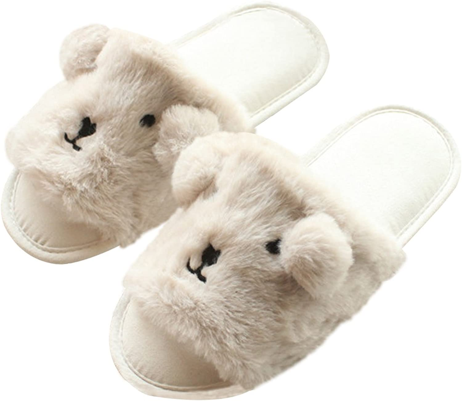 C.C-US Women's Cute Plush Slippers Anti-Slip Soft Sole House Slippers Open Toe Indoor shoes
