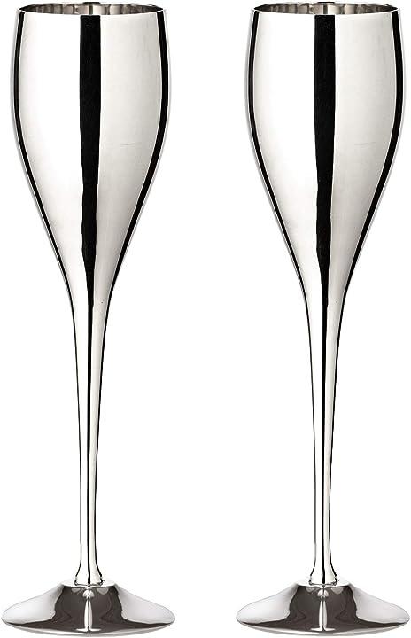 Set di 2 calici da spumante, in acciaio inox, altezza 23 cm, capacità 200 ml  edzard dodo 1593