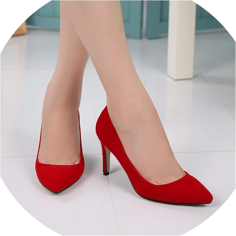 FINDYOU shoes Women 8 cm High Heels Pumps Flock Pointed Toe Pumps shoes Thin High Heel shoes Large Size 43 44