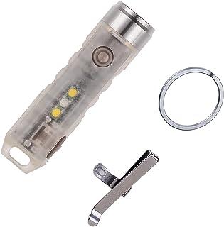 RovyVon A5x Upgraded oplaadbare sleutelhanger-zaklamp, Nichia 219C, 450 lumen, EDC fluorescerend groen, met UV-signaal/wit...
