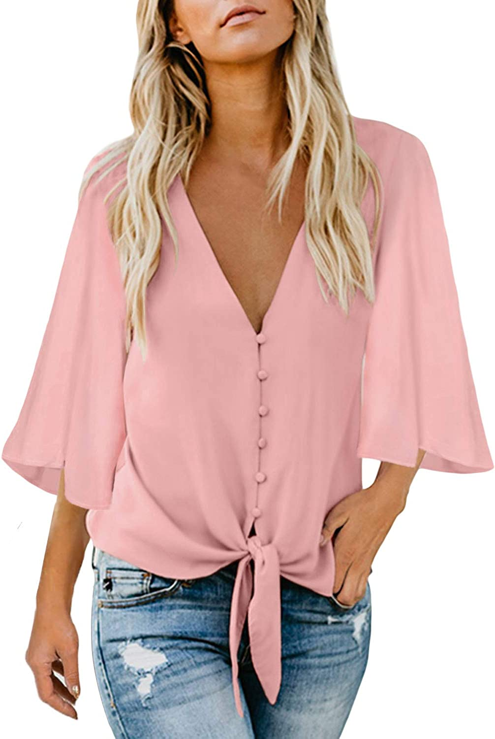 Asvivid Womens Summer Button Down V Neck Tops Bell Sleeve Chiffon Blouses Casual Loose Tie Knot T-Shirt
